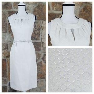 Tahari ASL 4 Belted Metallic Cut Out Dress